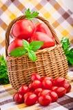 Корзина Wicker вполне свежих томатов вишни Стоковое Фото