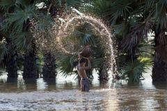 Корзины действия мальчика baler в поле Стоковые Фото