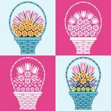Корзины цветков иллюстрация штока