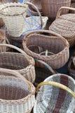 Корзины Handmade соломы плетеные Стоковое фото RF