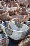 Корзины Handmade соломы плетеные Стоковые Фото