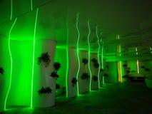 Коридор к бассейну освещенному в зеленом цвете стоковое фото rf