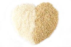 коричневая белизна риса сердца Стоковое Изображение