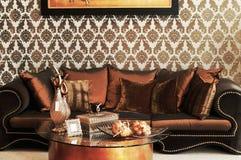 коричневая живущая комната Стоковая Фотография