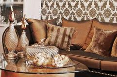 коричневая живущая комната Стоковые Изображения RF