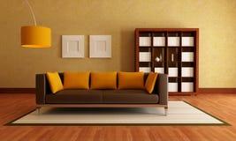 коричневая живущая померанцовая комната Стоковое Изображение