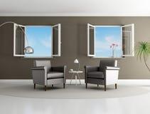 коричневая живущая самомоднейшая комната иллюстрация вектора