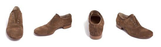 коричневая замша ботинка людей Стоковые Фотографии RF