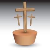коричневая заплата 3 крестов wodden иллюстрация штока