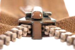 коричневая застежка -молния Стоковые Изображения RF