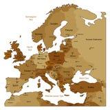коричневая карта европы Стоковое Изображение