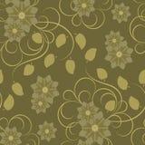 коричневая картина цветков безшовная Стоковые Изображения RF