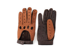 коричневая кожа перчаток Стоковое Изображение