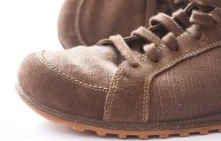 коричневая напольная проба ботинка Стоковое Изображение