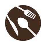 коричневая плита с изображением значка столового прибора иллюстрация штока