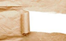 коричневая сорванная бумага пакета Стоковое Фото