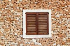 коричневое окно стены masonry деревянное Стоковое фото RF