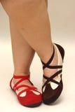 коричневые ботинки красного цвета танцульки Стоковые Изображения RF