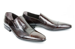 коричневые ботинки пар s человека стоковое фото