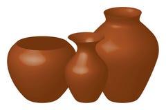 коричневые вазы Стоковые Фотографии RF