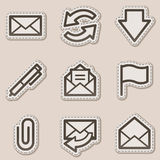 коричневые иконы контура e пересылают сеть стикера серии Стоковое Изображение