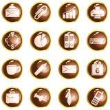 коричневые кнопки глянцуют высшую должность круглую Стоковая Фотография RF