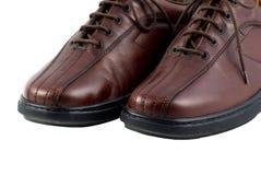 коричневые кожаные ботинки людей Стоковые Фото