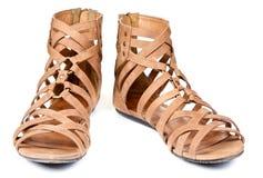 коричневые сандалии Стоковая Фотография