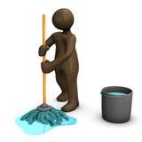 коричневые figurines с mop и busket Стоковая Фотография