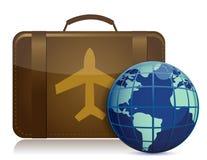 коричневый багаж глобуса земли иллюстрация вектора