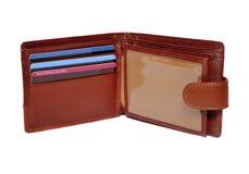 коричневый бумажник кредита карточек Стоковые Фотографии RF