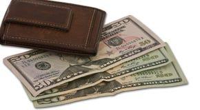 коричневый бумажник наличных дег Стоковые Фотографии RF