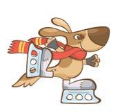 коричневый кататься на коньках коньков льда собаки Стоковая Фотография