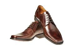 коричневый кожаный ботинок пар Стоковое фото RF