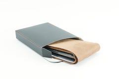 коричневый кожаный бумажник людей Стоковое Изображение