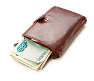 коричневый кожаный бумажник Стоковые Изображения RF