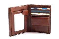 коричневый кожаный бумажник Стоковое Изображение