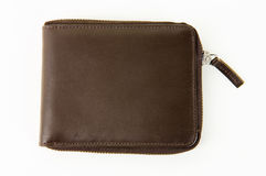 коричневый кожаный мыжской бумажник Стоковые Изображения
