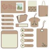 коричневый комплект бумаги предмета Стоковое Изображение RF