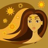 коричневый портрет волос девушки Стоковые Изображения