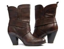 коричневый цвет ботинок Стоковые Фотографии RF