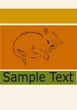 Коричневый цвет винтажного ретро котенка эскиза милого маленького сонного оранжевый зеленый Стоковое Изображение