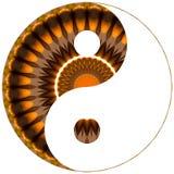 Коричневый цвет и апельсин символа Ying yang Стоковые Изображения