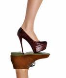 Коричневый цвет концепции ботинок конспекта классический укомплектовывает личным составом и высокая женщина s холмов Стоковые Изображения