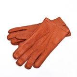 Коричневый цвет перчаток людей Стоковые Изображения