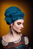 Коричневый цвет состава fasion молодой женщины голубой Стоковые Изображения