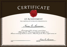Коричневый цвет шаблона сертификата Стоковые Фотографии RF