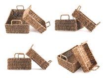 2 коричневых изолированной корзины wicker Стоковое Изображение