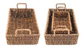 2 коричневых изолированной корзины wicker Стоковые Изображения RF