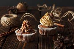 2 коричневых пирожного шоколада на деревянной предпосылке Стоковое фото RF